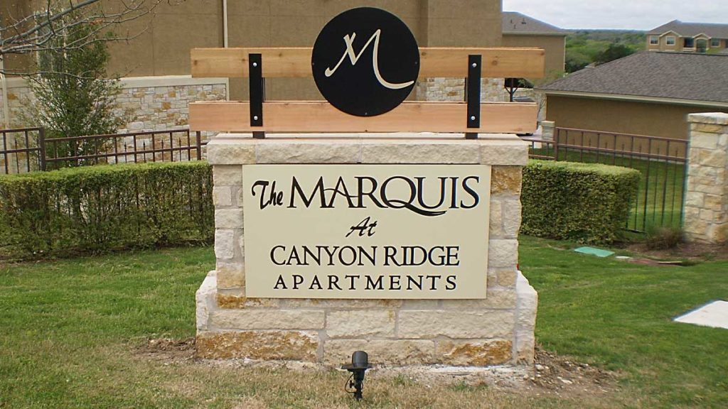 Apartment Sign Marquis Austin Texas Custom Signs