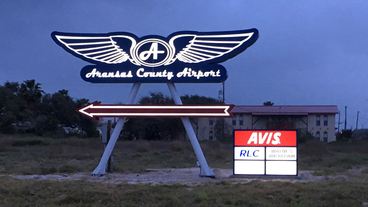 Pylon sign For Aransas County Airport In Rockport, TX