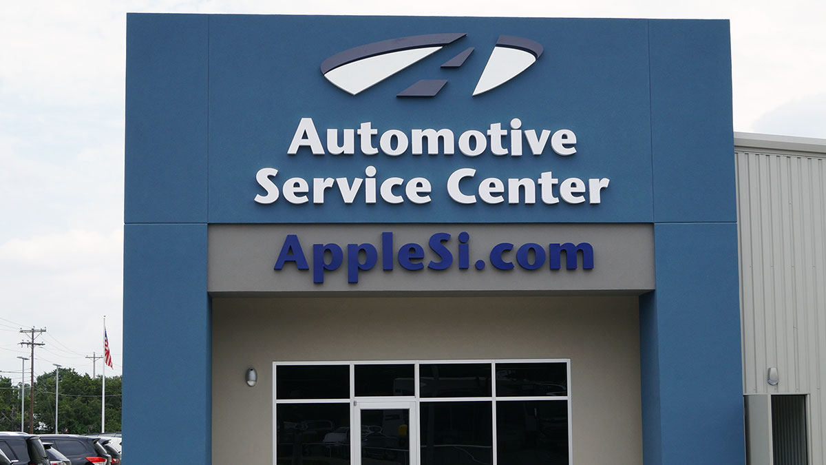Apple Si Sign built and installed by Texas Custom Signs