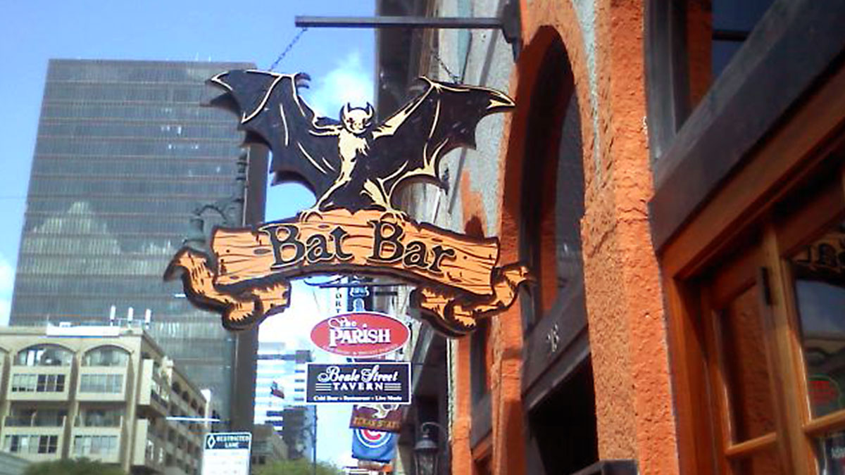 Bat Bar Sign built and installed by Texas Custom Signs