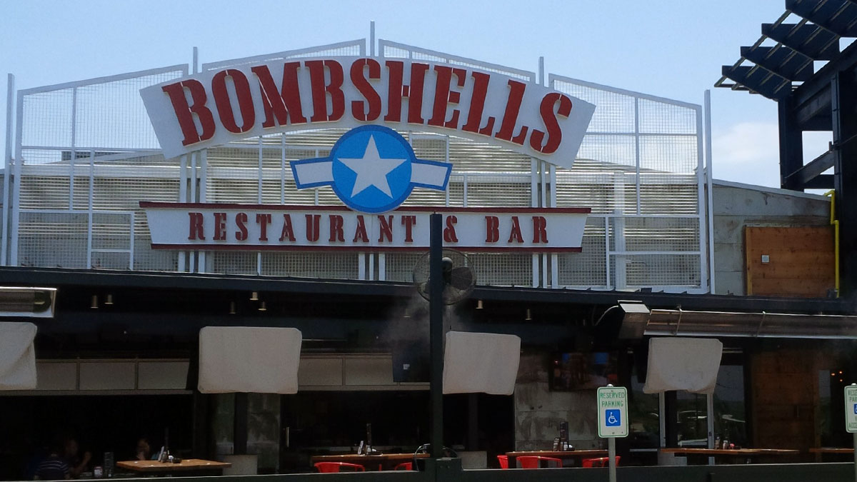 Bombshells sign built and installed by Texas Custom Signs