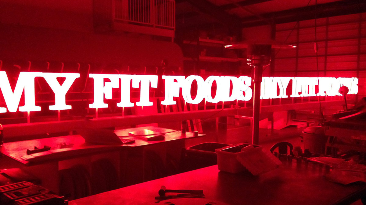 My Fit Foods Sign built and installed by Texas Custom Signs