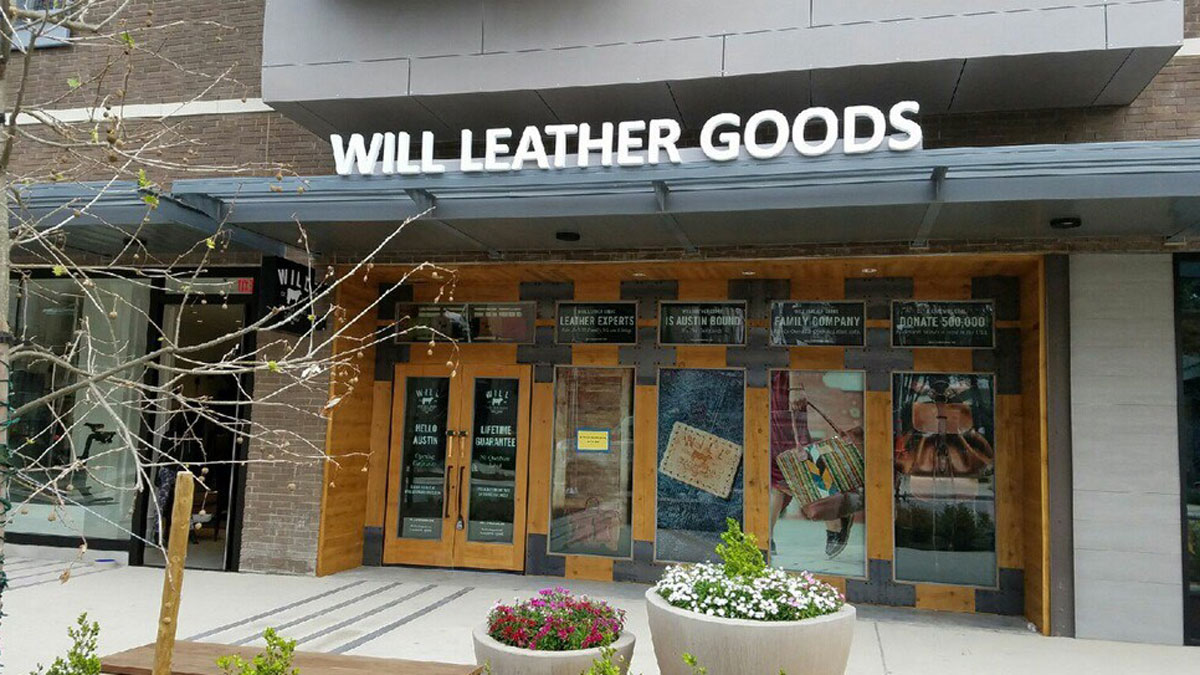 Will Leather Goods Cabinet Sign At The Domain In Austin, Texas