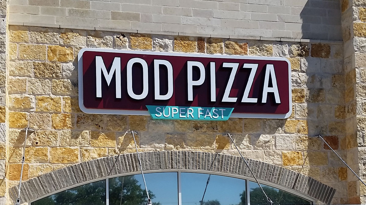 Mod Pizza Sign Installed By Texas Custom Signs
