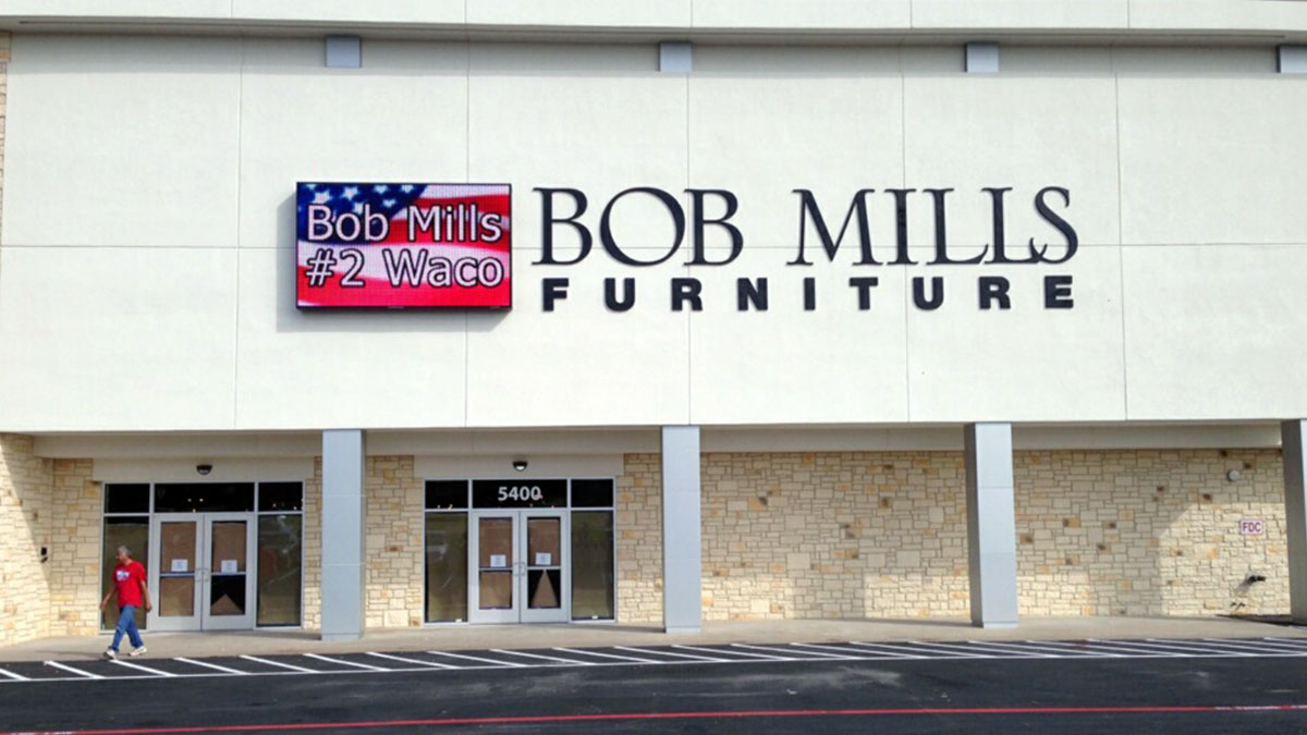 Bob Mills Furniture LED Display Installed By Texas Custom Signs