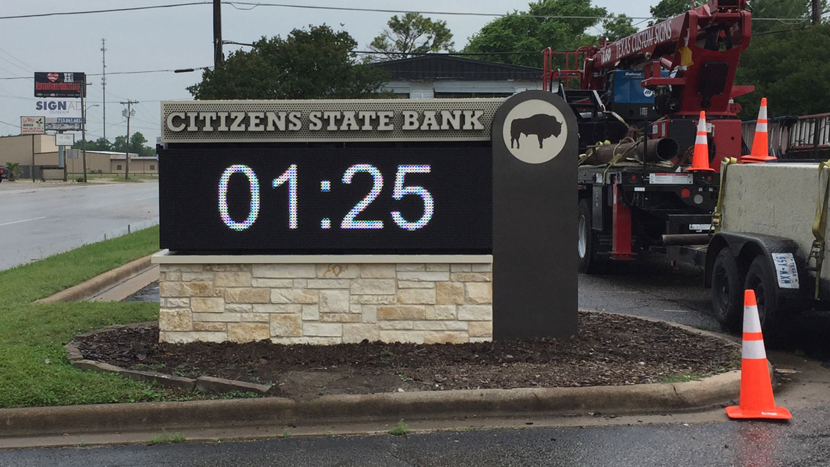 Citizens State Bank Monument Sign With LED In Grosbeck, Texas