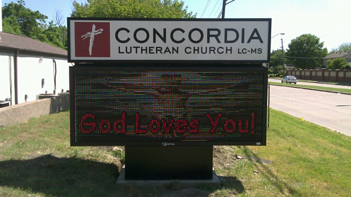 Concordia Lutheran Church LED Display Installed By Texas Custom Signs