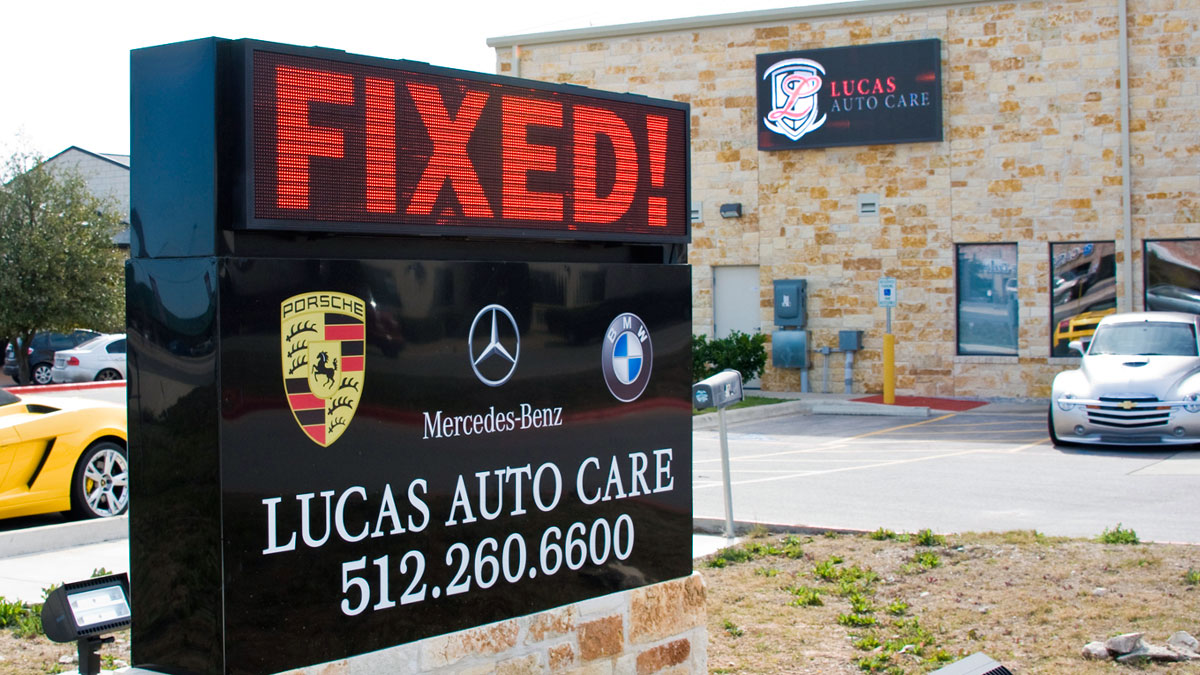 Lucas Auto Care LED display installed by Texas Custom Signs