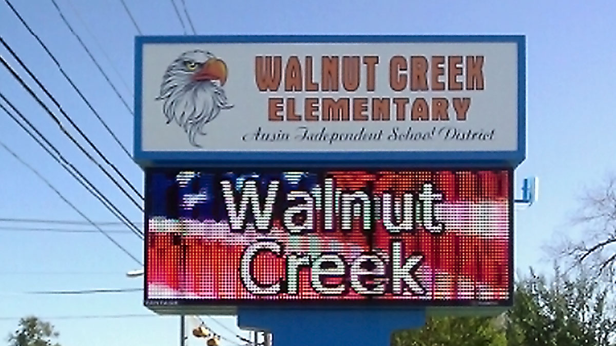 Walnut Creek Elementary LED display installed by Texas Custom Signs