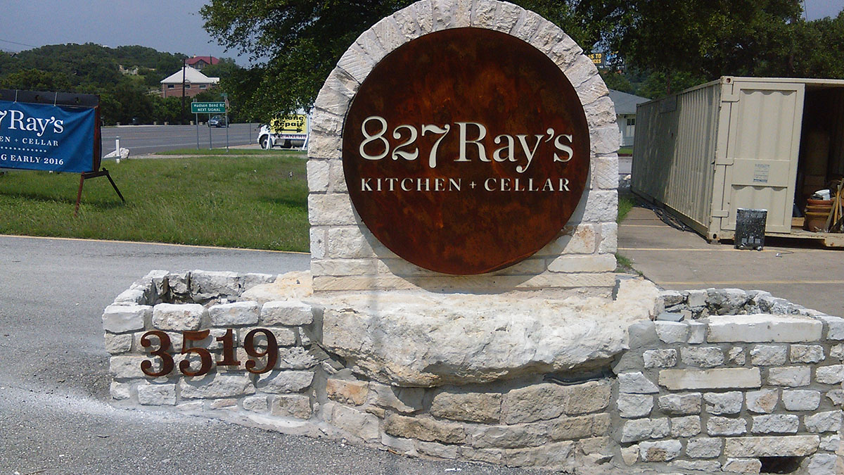 827Ray's Kitchen + Cellar monument sign in Austin, Texas