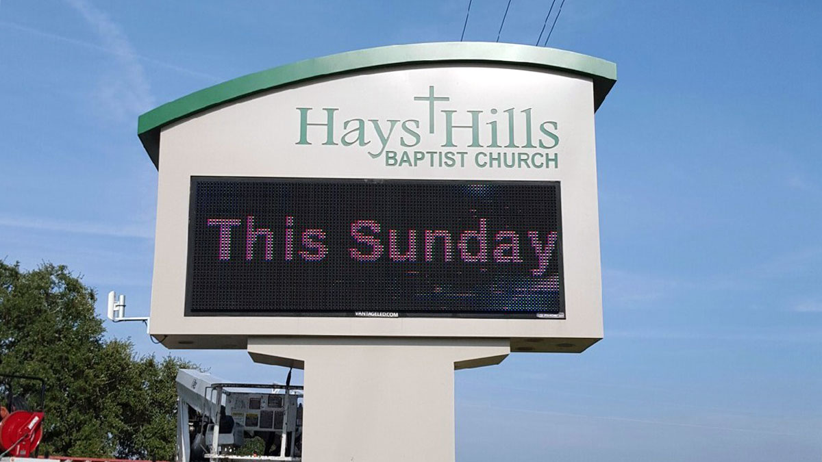 Hays Hills Baptist Church sign built and installed by Texas Custom Signs