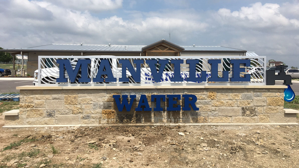Manville Water monument sign