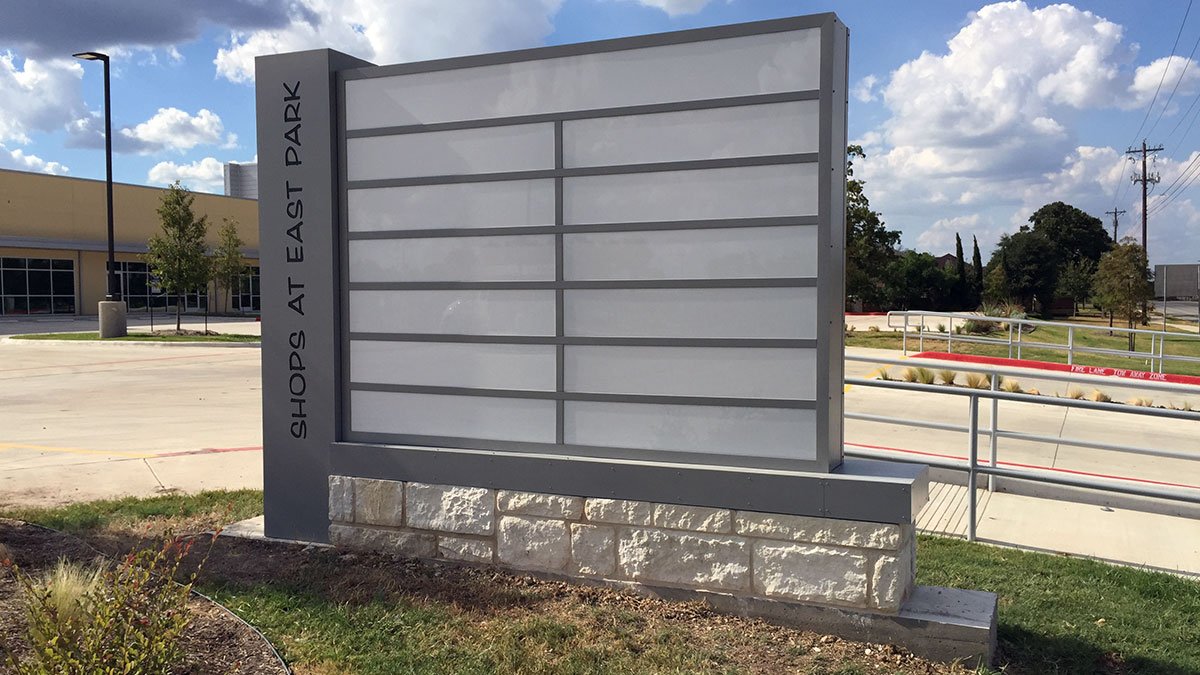 Shops At East Park Sign Built And Installed By Texas Custom Signs