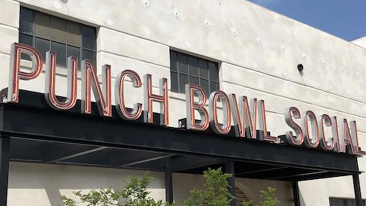 Punch Bowl Social Neon Sign in San Diego, CA
