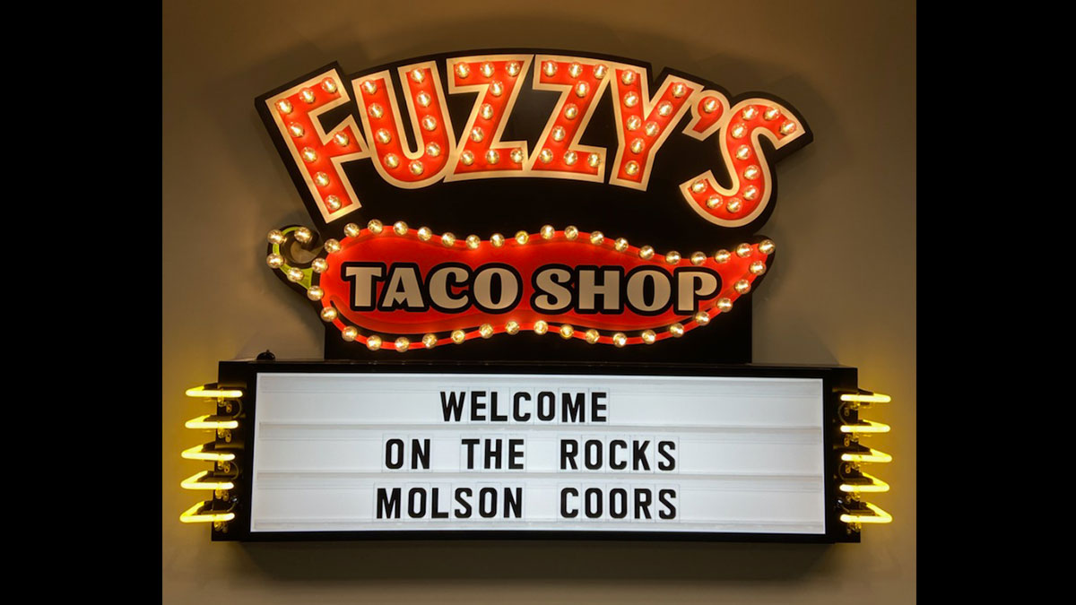 Fuzzy's Taco Shop Conference Room Sign In Irvine, Texas