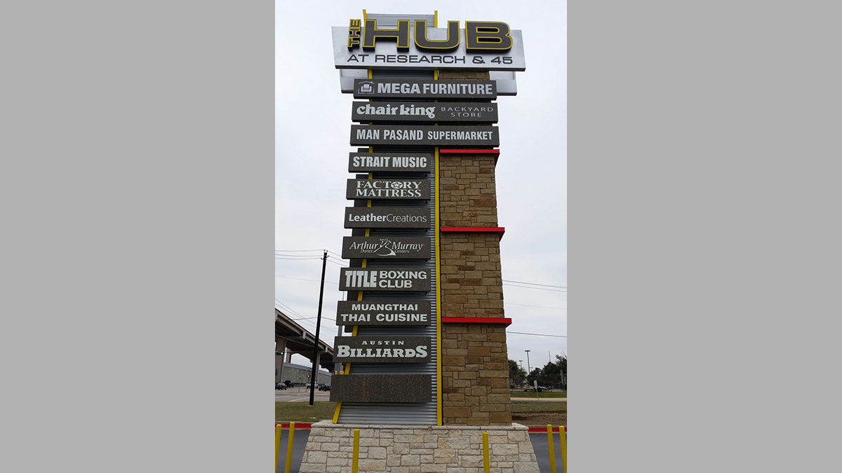 The Hub Sign Built And Installed By Texas Custom Signs