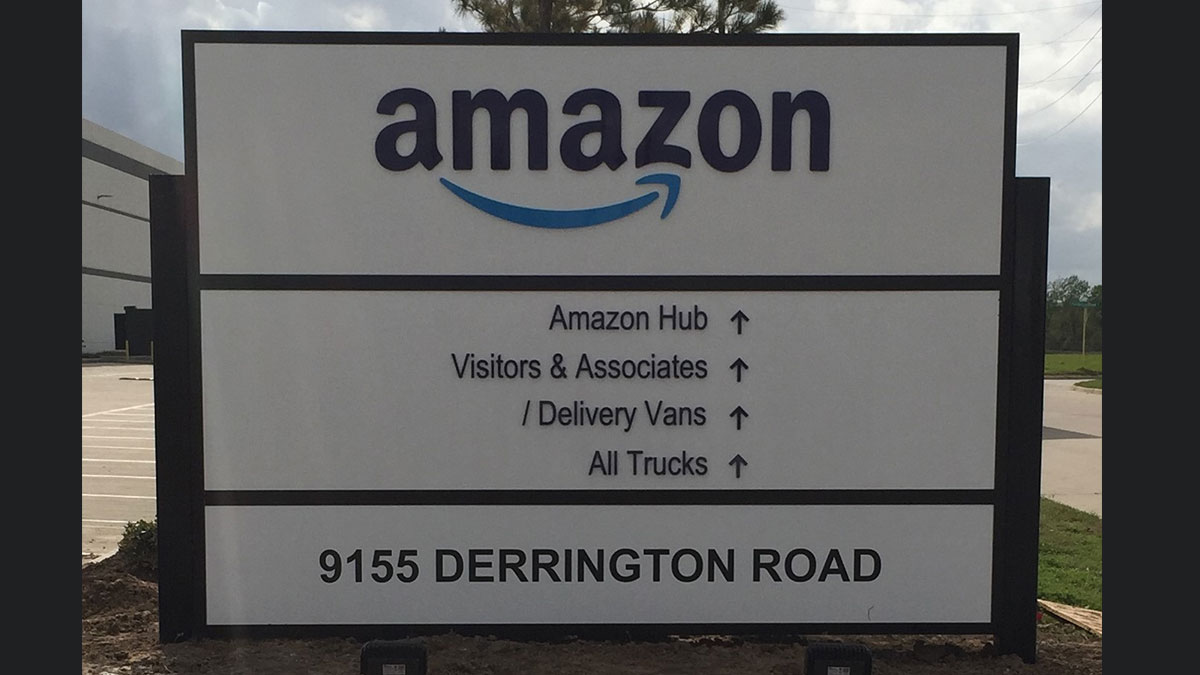Amazon cabinet sign with acrylic in Houston, TX