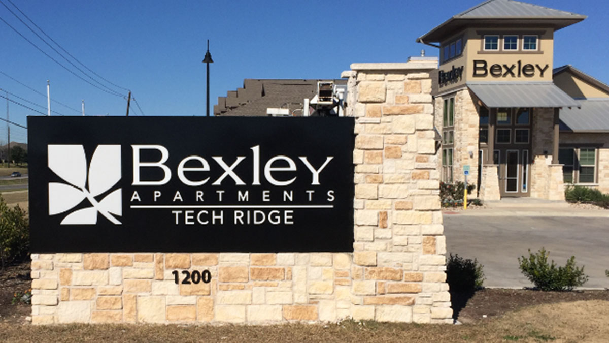 Bexley Apartments monument sign in Austin, Texas